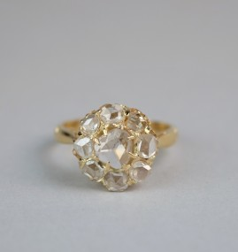 GENUINE VICTORIAN 1.55 CT ROSE CUT DIAMOND BELOVED DAISY RING!