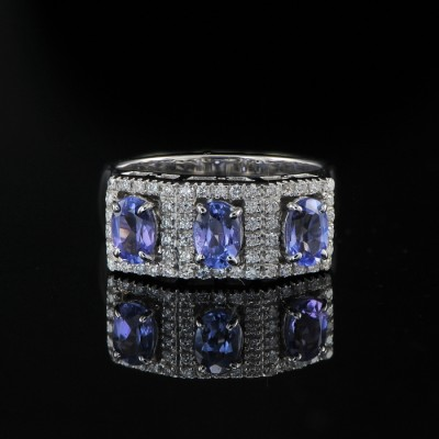 STUNNING HIM OR HER TANZANITE TRILOGY & DIAMOND BESPOKE RING!
