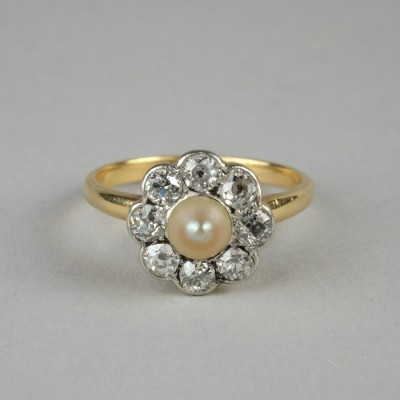 FOR EVER BEAUTIFUL VICTORIAN NATURAL PEARL & 1.40 CT OLD DIAMOND 1880 RING!