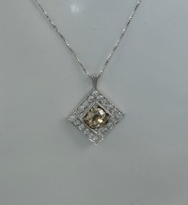 RARE CINNAMON OLD DIAMOND & MORE VINTAGE PENDANT WITH CHAIN!