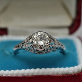 STUNNING GENUINE EDWARDIAN 1.30 CT SOLITAIRE DIAMOND RING 1910!