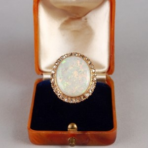 OUTSTANDING LATE ART DECO 8.0 CONFETTI OPAL 1.0 CT ROSE CUT DIAMOND RARE RING!