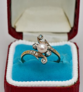 GENUINE ART NOUVEAU DIAMOND & NATURAL PEARL DELIGHTFUL RING 1900 CA!