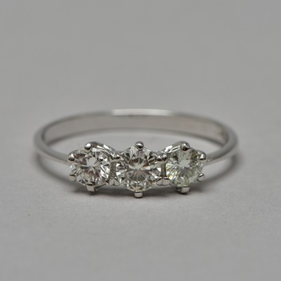 SUPERB QUALTIY .70 CT DIAMOND G VVS VS VINTAGE TRILOGY RING WOW!
