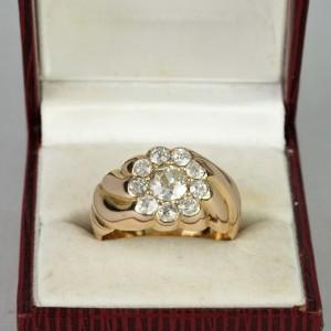 SUPERLATIVE GENUINE VICTORIAN 1.50 CT OLD CUT DIAMOND SPECIAL DAISY RING!