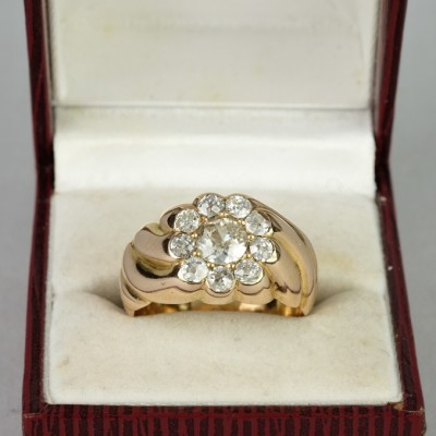 SUPERLATIVE GENUINE VICTORIAN 1.50 CT OLD CUT DIAMOND SPECIAL DAISY RING!