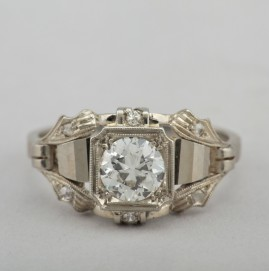 HIGHLY DISTICTIVE ART DECO .80 CT G VVS ENGAGEMENT RING OF THE FINEST QUALITY!