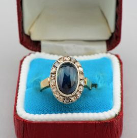 GORGEOUS GENUINE VICTORIAN 4.70 CT SAPPHIRE ROSE CUT DIAMOND RARE RING!