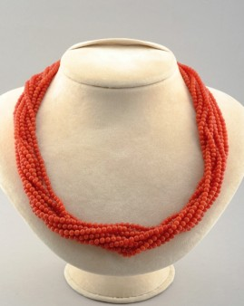 TOMATO RED SARDINIA CORAL MULTISTRAND TORSADE VINTAGE NECKLACE GOLD CLASP!