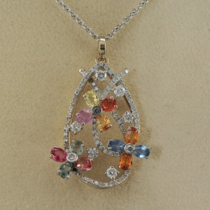 GORGEOUS DIAMOND COLOURFUL SAPPHIRE MULTI-FLOWER NECKLACE!