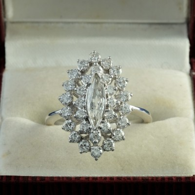 SUPERB 1.70 CT MARQUISE DIAMOND VINTAGE COCKTAIL RING FROM 60'S!