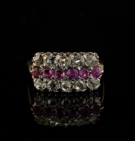 VICTORIAN RUBY & ROSE DIAMOND CHARMING PANEL RING!