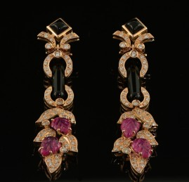 MAGNIFICENT CARVED RUBY DIAMOND BLACK ONYX PANEL LONG EARRINGS!