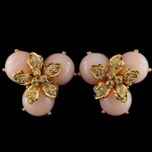 SPECTACULAR PINK OPAL & DIAMOND TRES CHIC VINTAGE EARRINGS!