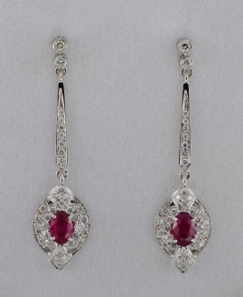 SPECTACULAR ROYALTY MOGOK RUBIES AND DIAMOND LONG DROP EARRINGS!