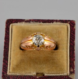 SPECTACULAR 1.21 CT OLD EUROPEAN DIAMOND GENUINE VICTORIAN SOLITAIRE RING 1880 CA!