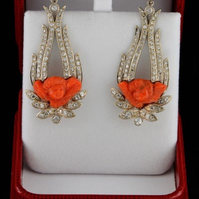 SPECTACULAR CORAL CHERUBS AND 3.10 CT OLD CUT DIAMOND PANEL EARRINGS 1930 CA!