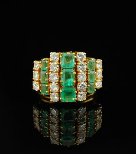 ART DECO 3.32CT EMERALD DIAMOND RARE RING