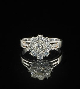 1.30CT BRILLIANT DIAMOND VTG DAISY RING G VVS