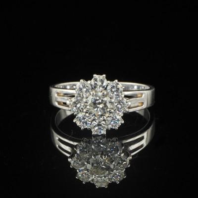 1.30CT BRILLIANT DIAMOND VTG DAISY RING G VVS