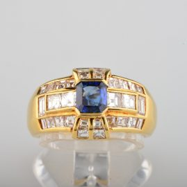 ART DECO ROYAL SAPPHIRE 2.65 CT DIAMOND RARE RING