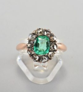 GENUINE VICTORIAN 1.20 CT COLOMBIAN EMERALD 1.0 CT DIAMOND ROSE 1860 CA RING!
