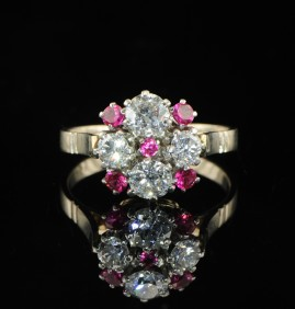 EDWARDIAN 1.50 CT DIAMOND & RUBY RARE RING