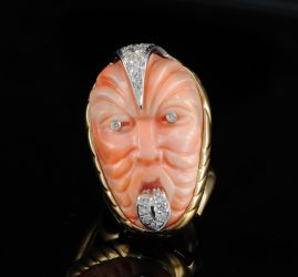 REMARKABLE GOOD WISHING CORAL DIAMOND MAORI MASK HUGE VTG RING