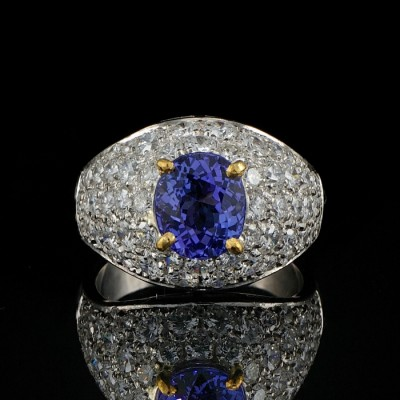 HIGHLY SOPHISTICATE 3,80 CT DIAMOND LUXURY TANZANITE ALL PLATINUM RING!