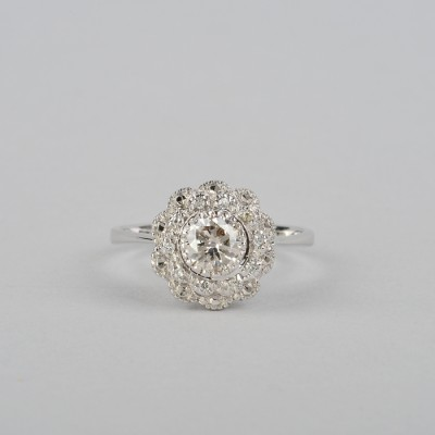 CHARMING FLOWER DIAMOND VTG RING .70CT SOLITAIRE DIA WOW!