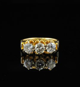 VICTORIAN 1.50 CT OLD DIAMOND TRILOGY RING
