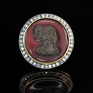 AMAZING 1.70 CT DIAMOND ANCIENT MATRESS LAVA CAMEO RARE UNIQUE RING