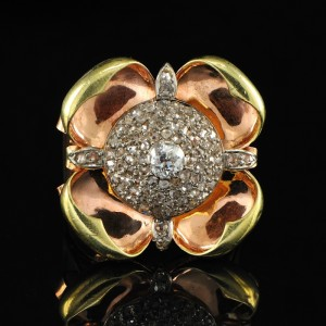 SPECTACULAR LATE ART DECO HUGE FLOWER DIAMOND RING – AMAZING!