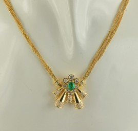 SPECTACULAR COLOMBIAN EMERALD & DIAMOND RETRO NECKLACE – AN UNIQUE!