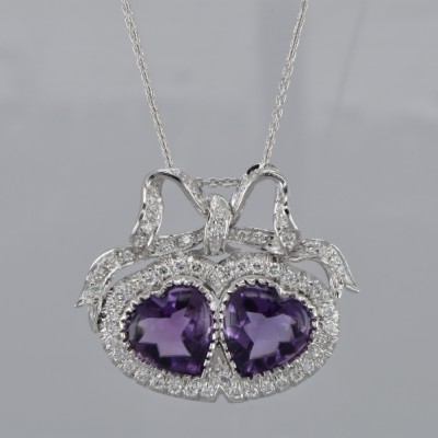 ROMANTIC VINTAGE 22.0 CT AMETHYST 1.90 CT DIAMOND DOUBLE HEART RIBBON PENDANT!