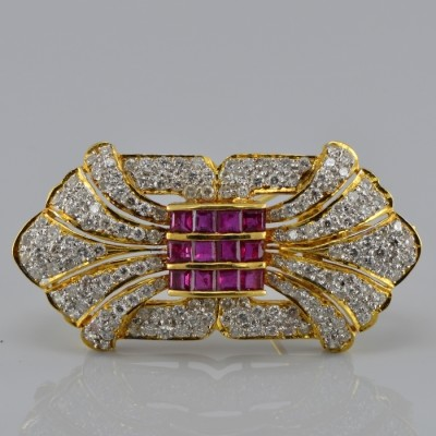 SENSATIONAL 3.10 CT DIAMOND & 1.20 RUBY FINE VINTAGE PANEL BROOCH OR PENDANT