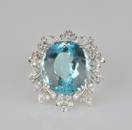 Sensational huge 74.50 Ct Natural Aquamarine and diamonds Vintage Brooch or Pendant