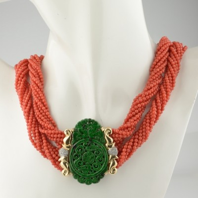 HIGH END ITALIAN JEWELLERY CORAL JADE DIAMOND ELEGANT NECKLACE