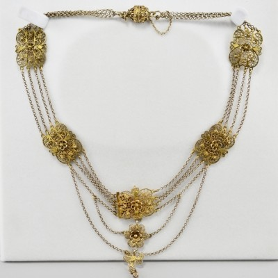 SPECTACULAR GENUINE VICTORIAN SICILY GILDED SILVER FILIGREE NECKLACE!