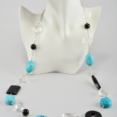1960 VINTAGE EXCLUSIVE ITALIAN TURQUOISE ROCK CRYSTAL AGATE NECKLACE!