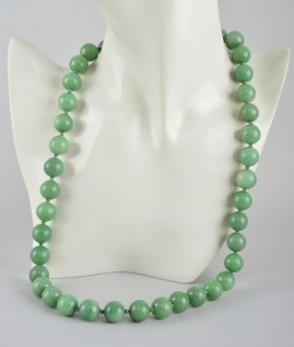 ANTIQUE CHINESE GREEN CELADON SERPENTINE HUGE BEADED NECKLACE PRE 1940!