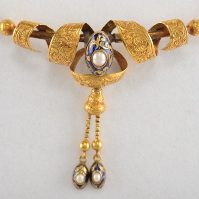 SUPERB 1880 FRENCH VICTORIAN NATURAL PEARL ROYAL ENAMEL RARE NECKLACE!