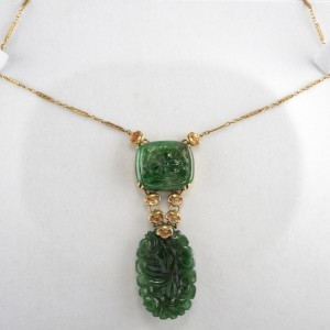 ART NOUVEAU RICH SPINACH GREEN JADE & FLOWER ANTIQUE 14KT NECKLACE!