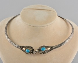 ANTIQUE CHINESE GOLD SILVER TURQUOISE SNAKE COLLAR 1930 CA!