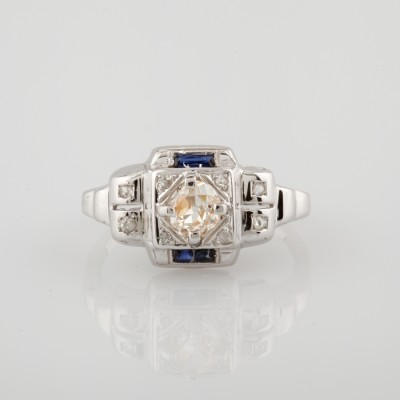 GENUINE ART DECO NATURAL FANCY DIAMOND & SAPPHIRE RARE UNISEX RING 1925!