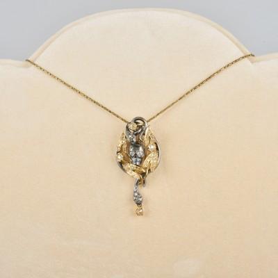 SPECTACULAR MEMENTO MORI IVY LEAF sKULL & SNAKES 1.75 CT DIAMOND ARTPIECE PENDANT!