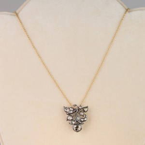 A GOOD RECENCY GEORGIAN 2.90 CT DUTCH ROSE CUT DIAMOND PENDANT NECKLACE!