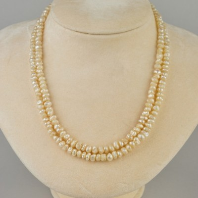 VICTORIAN DOUBLE STRAND NATURAL BASRA PEARL RARE NECKLACE 30 GR- 1920 CA!