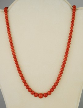 AN EXCELLENT PRE 1940 SICILY NATURAL RED TOMATO CORAL RARE NECKLACE!