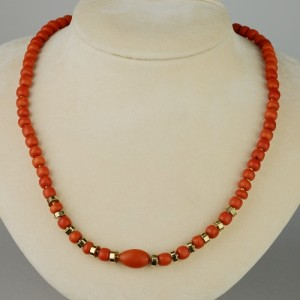 VICTORIAN NATURAL SCIACCA CORAL FROM SICILY RARE ANTIQUE NECKLACE!